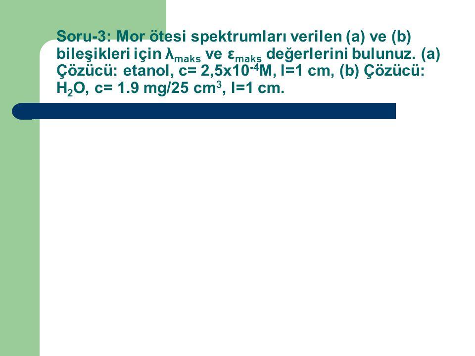Soru-3: Mor ötesi spektrumları verilen (a) ve (b) bileşikleri için λ maks ve ε maks değerlerini bulunuz.
