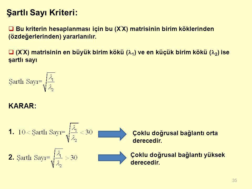 34 UYGULAMA: Aynı örnek için Klein kriteri ile çoklu doğrusal bağlantı sorununu inceleyiniz. Elde edilen yardımcı regresyon modelleri 1. 2. 3. Çoklu d