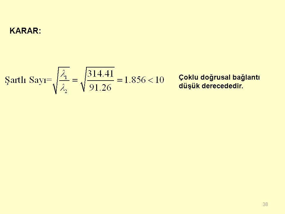 37  Ortalamadan farklar ile bağımsız değişkenler katsayı matrisi;