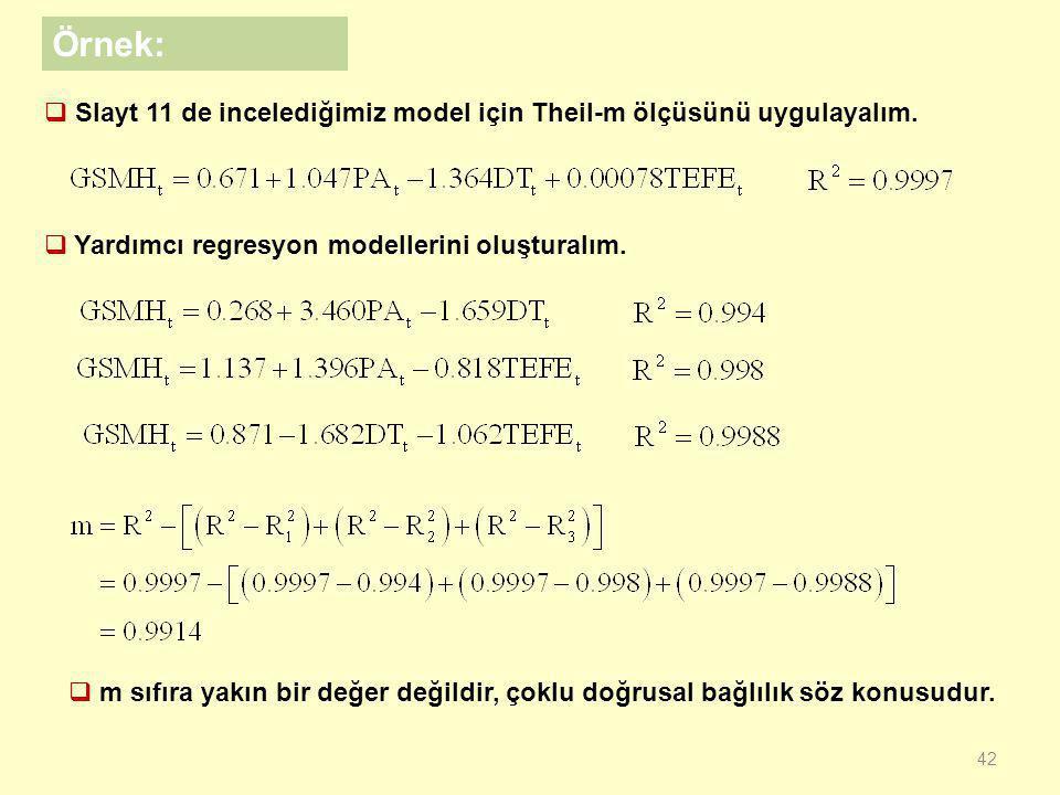 """41  """"m"""" ölçüsü her regresyon için ayrı ayrı hesaplanmayan genel bir ölçüdür.  m ölçüsü negatif çıkabileceği gibi çok yüksek pozitif değer de olabilm"""