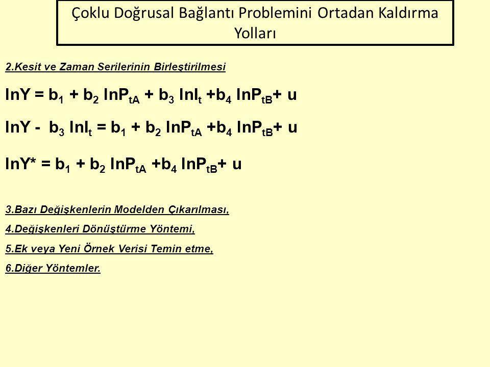 Çoklu Doğrusal Bağlantı Problemini Ortadan Kaldırma Yolları 1.Ön Bilgi Yöntemi Y = b 1 + b 2 X 2 + b 3 X 3 +b 4 X 4 + ub 3 = 0.2b 2 Y = b 1 + b 2 X 2