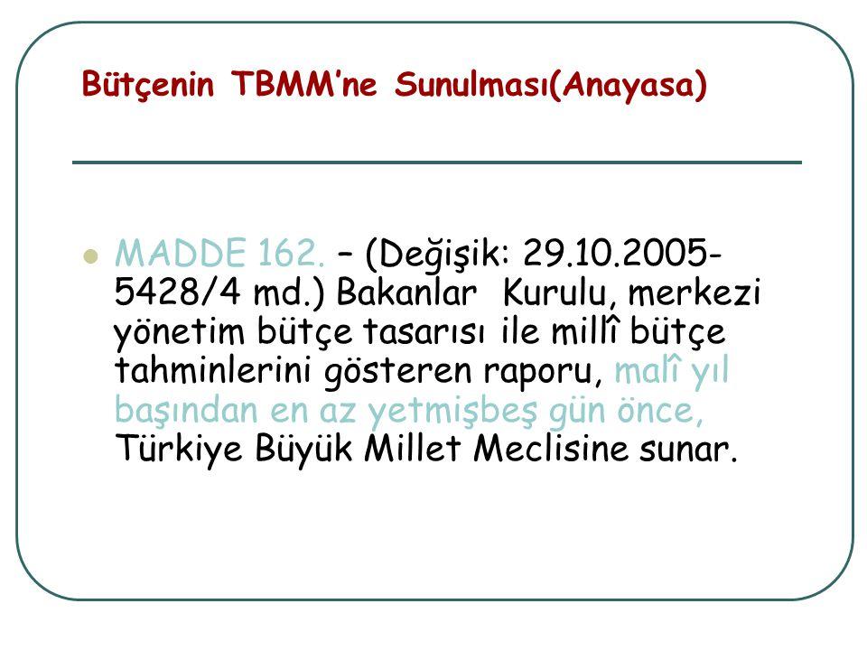 Bütçenin TBMM'ne Sunulması(Anayasa) MADDE 162. – (Değişik: 29.10.2005- 5428/4 md.) Bakanlar Kurulu, merkezi yönetim bütçe tasarısı ile millî bütçe tah