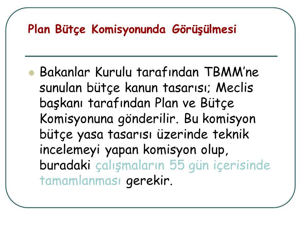 Plan Bütçe Komisyonunda Görüşülmesi Bakanlar Kurulu tarafından TBMM'ne sunulan bütçe kanun tasarısı; Meclis başkanı tarafından Plan ve Bütçe Komisyonu