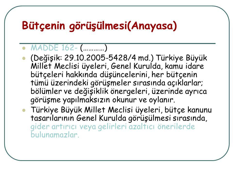 Bütçenin görüşülmesi(Anayasa) MADDE 162- (…………) (Değişik: 29.10.2005-5428/4 md.) Türkiye Büyük Millet Meclisi üyeleri, Genel Kurulda, kamu idare bütçe