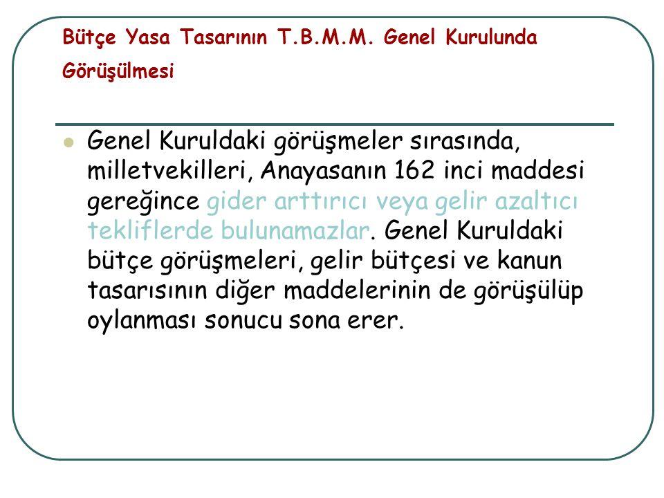 Bütçe Yasa Tasarının T.B.M.M. Genel Kurulunda Görüşülmesi Genel Kuruldaki görüşmeler sırasında, milletvekilleri, Anayasanın 162 inci maddesi gereğince
