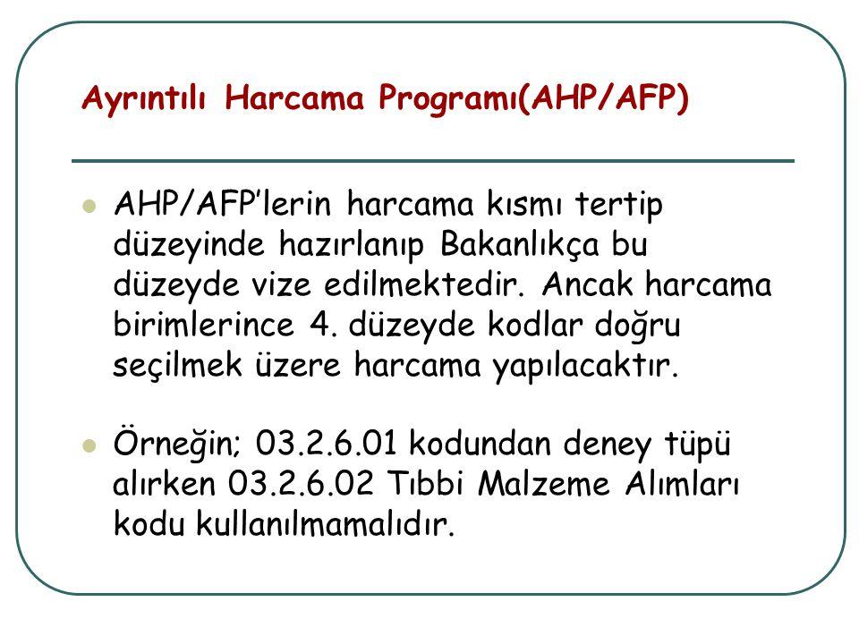 AHP/AFP'lerin harcama kısmı tertip düzeyinde hazırlanıp Bakanlıkça bu düzeyde vize edilmektedir. Ancak harcama birimlerince 4. düzeyde kodlar doğru se