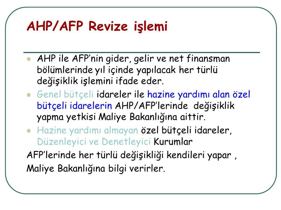 AHP/AFP Revize işlemi AHP ile AFP'nin gider, gelir ve net finansman bölümlerinde yıl içinde yapılacak her türlü değişiklik işlemini ifade eder. Genel