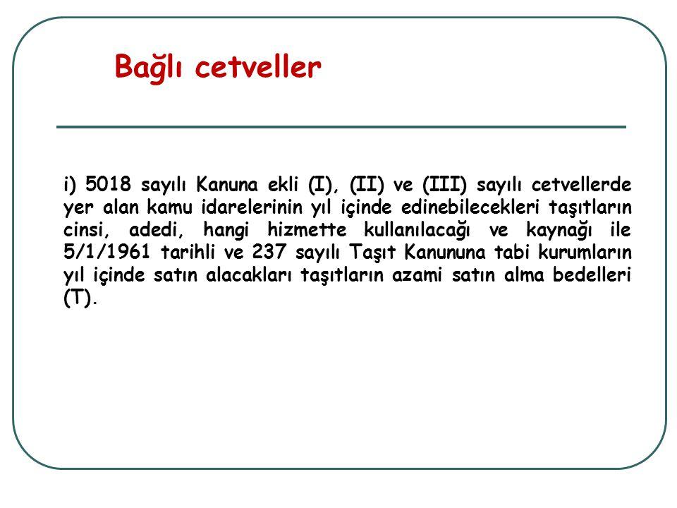 i) 5018 sayılı Kanuna ekli (I), (II) ve (III) sayılı cetvellerde yer alan kamu idarelerinin yıl içinde edinebilecekleri taşıtların cinsi, adedi, hangi