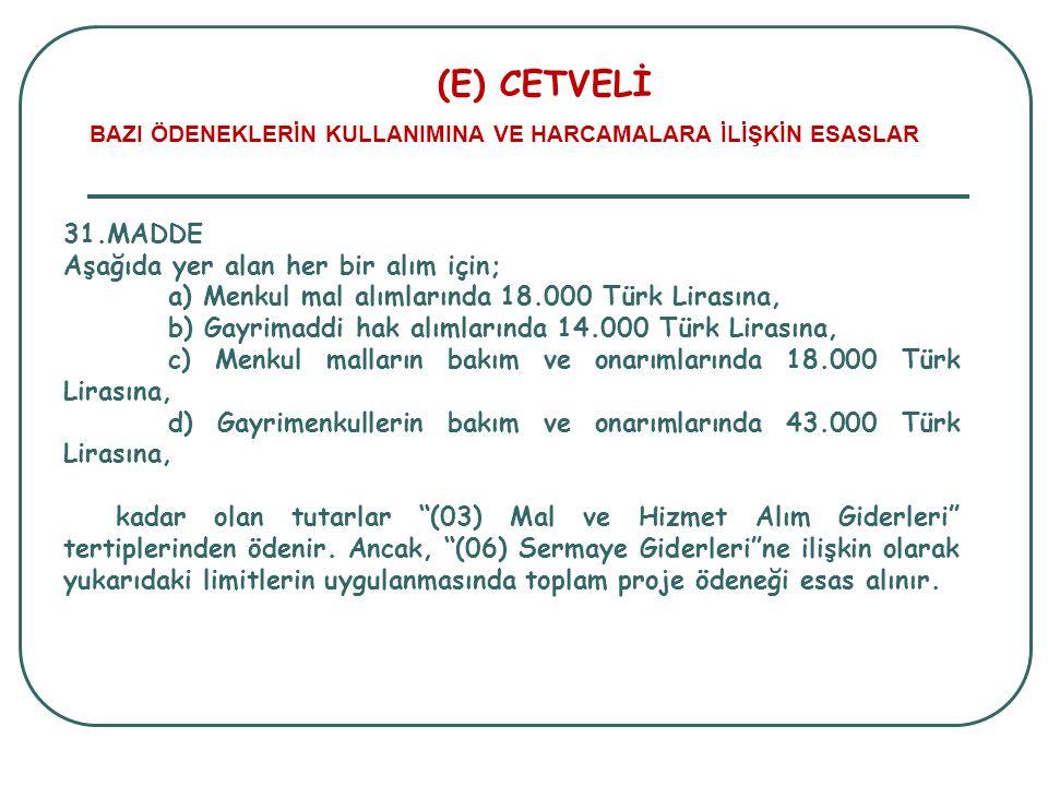 (E) CETVELİ BAZI ÖDENEKLERİN KULLANIMINA VE HARCAMALARA İLİŞKİN ESASLAR 31.MADDE Aşağıda yer alan her bir alım için; a) Menkul mal alımlarında 18.000