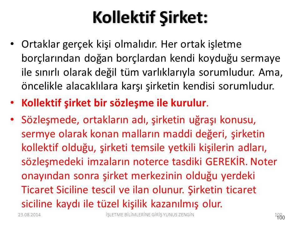"""Kollektif Şirket:Kollektif Şirket: Kollektif şirket, en yaygın olan şirket türüdür. Türk ticaret kanununa göre düzenlenmiştir. Buradaki tanımı """" ticar"""
