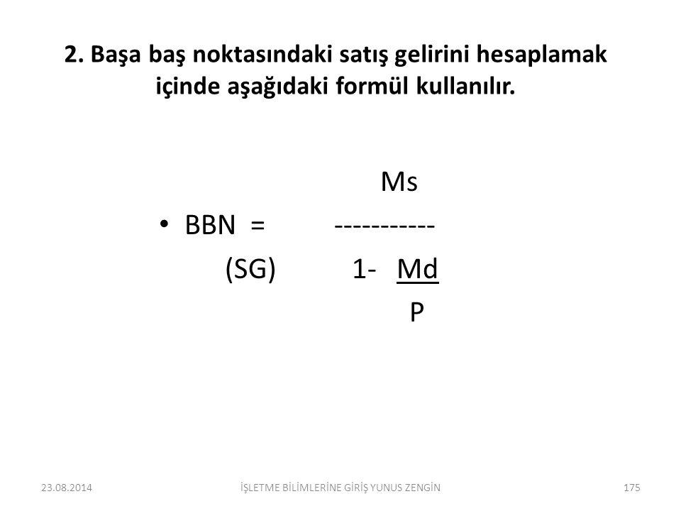 BBN HESAPLANMASI 1.Başa baş noktasındaki üretim miktarını bulmak için, Ms BBN= ------------ (ÜM) P- Md BBN = Başa baş noktasındaki üretim miktarı (ÜM)