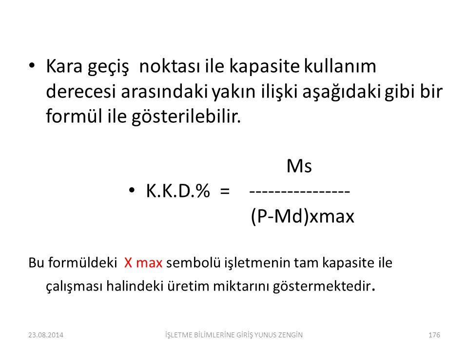2. Başa baş noktasındaki satış gelirini hesaplamak içinde aşağıdaki formül kullanılır. Ms BBN = ----------- (SG) 1- Md P 175İŞLETME BİLİMLERİNE GİRİŞ