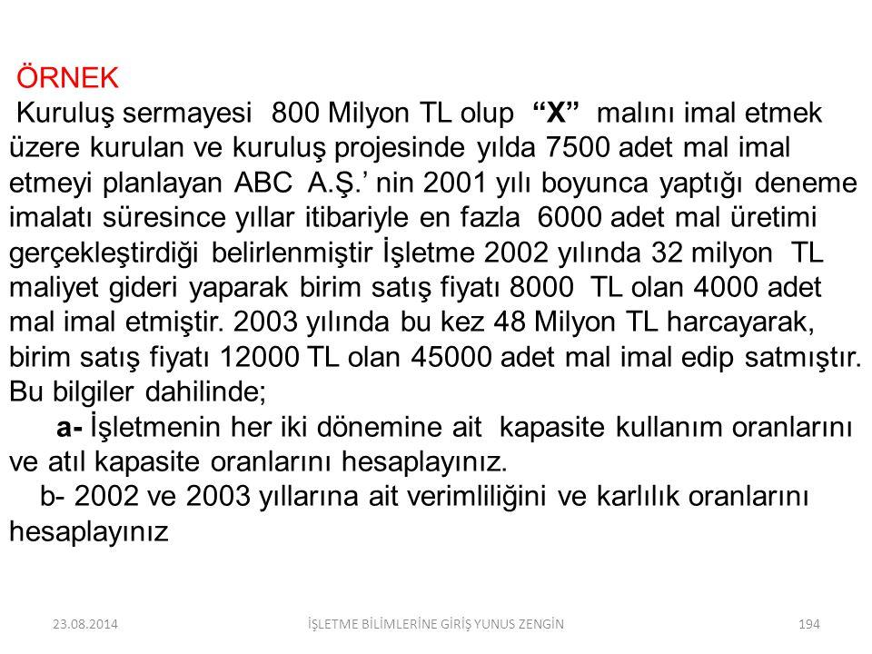 """23.08.2014İŞLETME BİLİMLERİNE GİRİŞ YUNUS ZENGİN193 ÖRNEK Kuruluş sermayesi 1.600.Milyon TL olup """"X"""" malını imal etmek üzere kurulan ve kuruluş projes"""