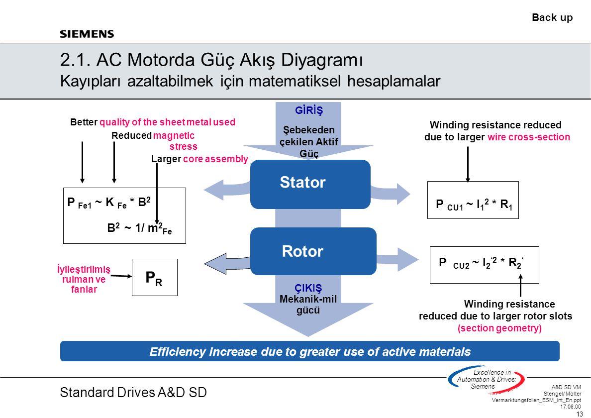 Standard Drives A&D SD A&D SD VM Stengel/ Mölter Vermarktungsfolien_ESM_int_En.ppt 17.08.00 13 Excellencein Automation&Drives: Siemens 2.1. AC Motorda