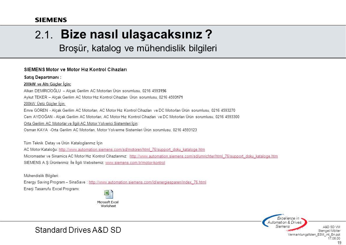 Standard Drives A&D SD A&D SD VM Stengel/ Mölter Vermarktungsfolien_ESM_int_En.ppt 17.08.00 19 Excellencein Automation&Drives: Siemens 2.1. Bize nasıl
