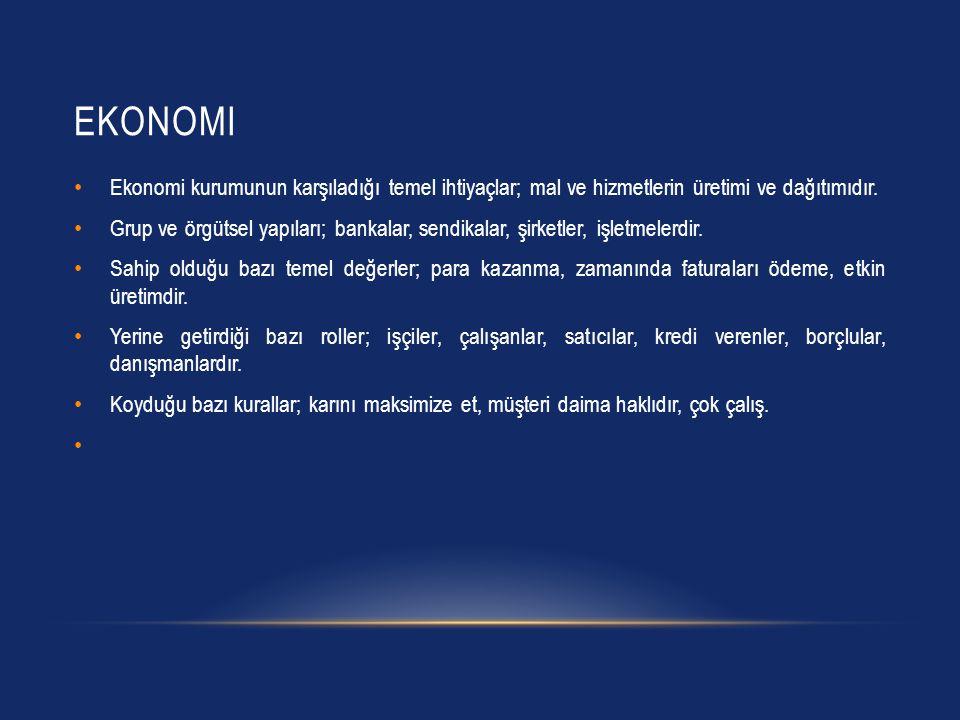EKONOMI Ekonomi kurumunun karşıladığı temel ihtiyaçlar; mal ve hizmetlerin üretimi ve dağıtımıdır.