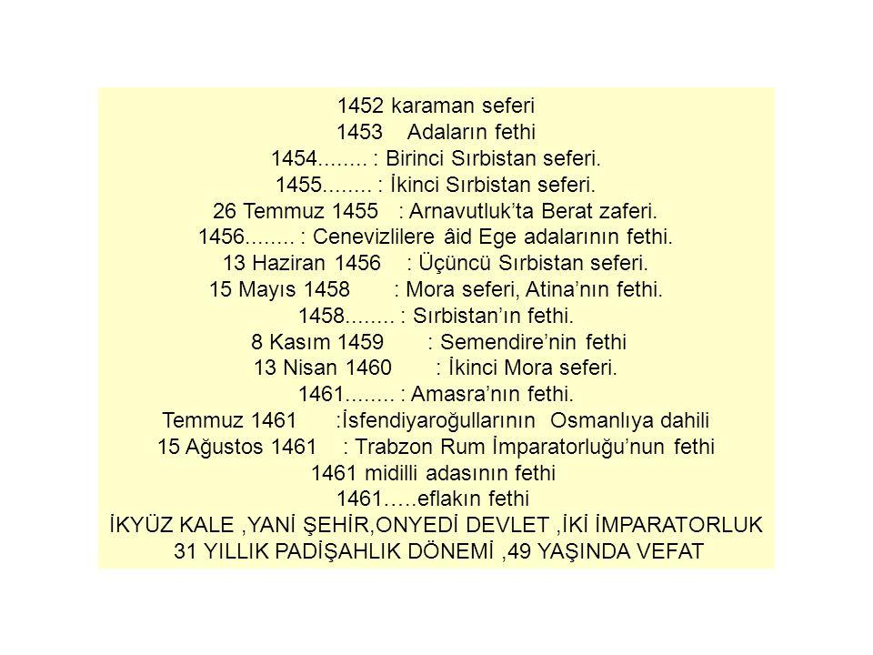 1452 karaman seferi 1453 Adaların fethi 1454........ : Birinci Sırbistan seferi. 1455........ : İkinci Sırbistan seferi. 26 Temmuz 1455 : Arnavutluk't