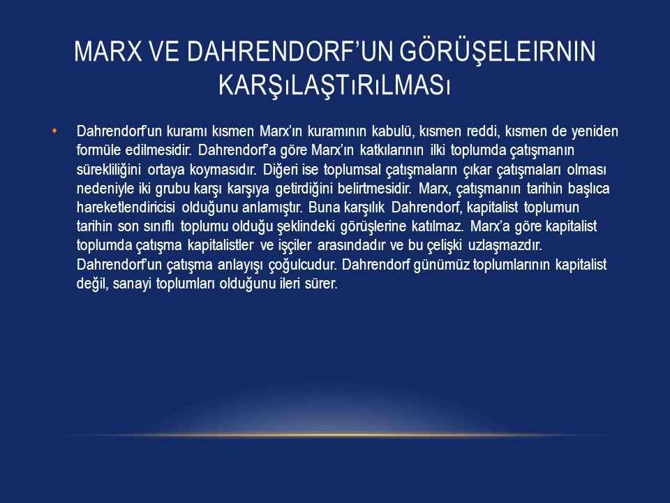MARX VE DAHRENDORF'UN GÖRÜŞELEIRNIN KARŞıLAŞTıRıLMASı Dahrendorf'un kuramı kısmen Marx'ın kuramının kabulü, kısmen reddi, kısmen de yeniden formüle edilmesidir.