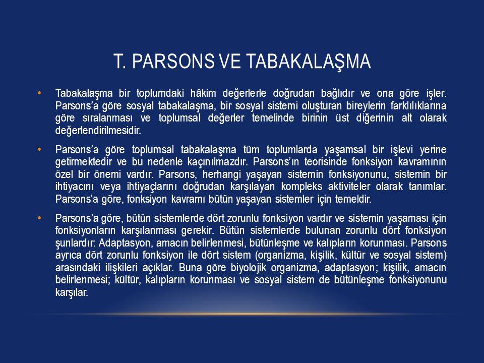 T. PARSONS VE TABAKALAŞMA Tabakalaşma bir toplumdaki hâkim değerlerle doğrudan bağlıdır ve ona göre işler. Parsons'a göre sosyal tabakalaşma, bir sosy