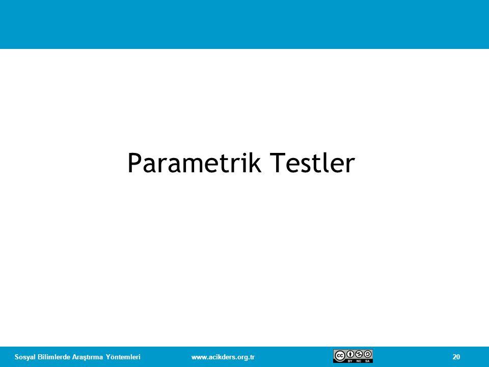 20Sosyal Bilimlerde Araştırma Yöntemleriwww.acikders.org.tr Parametrik Testler