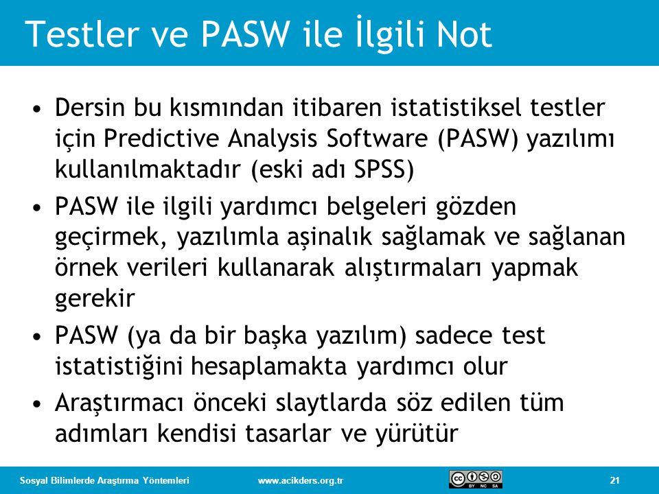 21Sosyal Bilimlerde Araştırma Yöntemleriwww.acikders.org.tr Testler ve PASW ile İlgili Not Dersin bu kısmından itibaren istatistiksel testler için Predictive Analysis Software (PASW) yazılımı kullanılmaktadır (eski adı SPSS) PASW ile ilgili yardımcı belgeleri gözden geçirmek, yazılımla aşinalık sağlamak ve sağlanan örnek verileri kullanarak alıştırmaları yapmak gerekir PASW (ya da bir başka yazılım) sadece test istatistiğini hesaplamakta yardımcı olur Araştırmacı önceki slaytlarda söz edilen tüm adımları kendisi tasarlar ve yürütür