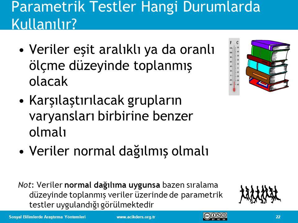22Sosyal Bilimlerde Araştırma Yöntemleriwww.acikders.org.tr Parametrik Testler Hangi Durumlarda Kullanılır.