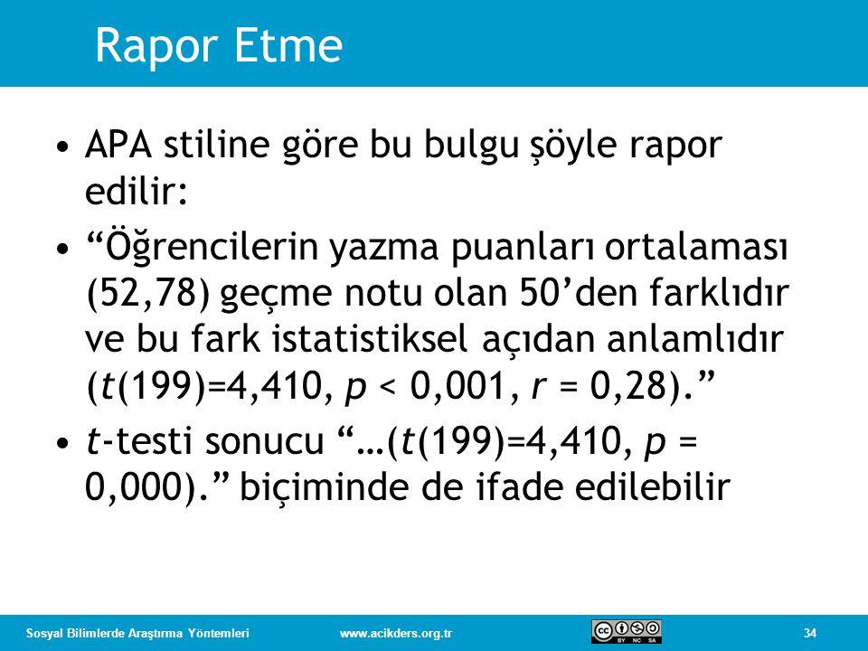 34Sosyal Bilimlerde Araştırma Yöntemleriwww.acikders.org.tr Rapor Etme APA stiline göre bu bulgu şöyle rapor edilir: Öğrencilerin yazma puanları ortalaması (52,78) geçme notu olan 50'den farklıdır ve bu fark istatistiksel açıdan anlamlıdır (t(199)=4,410, p < 0,001, r = 0,28). t-testi sonucu …(t(199)=4,410, p = 0,000). biçiminde de ifade edilebilir