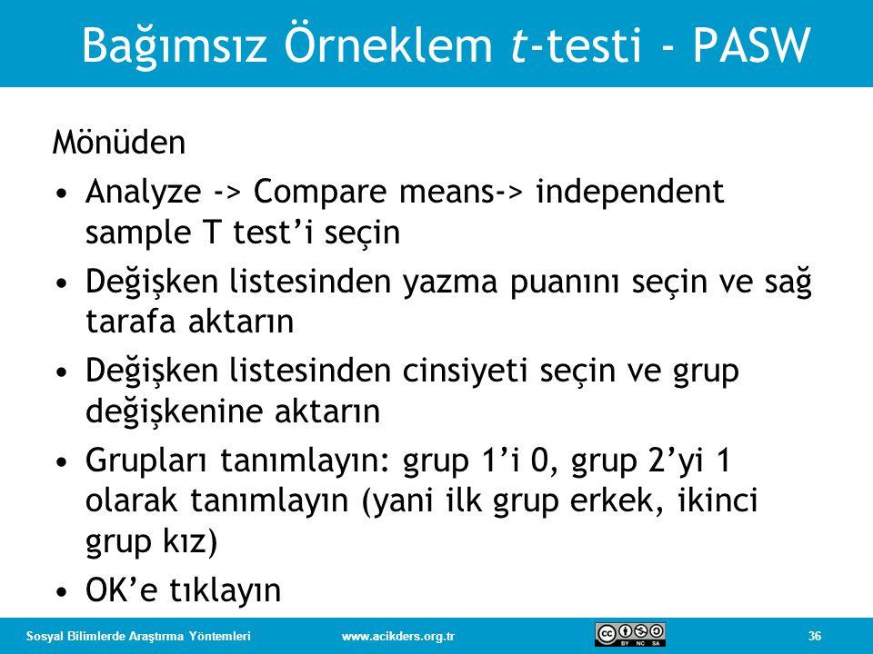 36Sosyal Bilimlerde Araştırma Yöntemleriwww.acikders.org.tr Bağımsız Örneklem t-testi - PASW Mönüden Analyze -> Compare means-> independent sample T test'i seçin Değişken listesinden yazma puanını seçin ve sağ tarafa aktarın Değişken listesinden cinsiyeti seçin ve grup değişkenine aktarın Grupları tanımlayın: grup 1'i 0, grup 2'yi 1 olarak tanımlayın (yani ilk grup erkek, ikinci grup kız) OK'e tıklayın