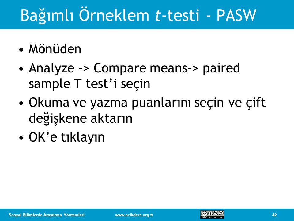 42Sosyal Bilimlerde Araştırma Yöntemleriwww.acikders.org.tr Bağımlı Örneklem t-testi - PASW Mönüden Analyze -> Compare means-> paired sample T test'i seçin Okuma ve yazma puanlarını seçin ve çift değişkene aktarın OK'e tıklayın