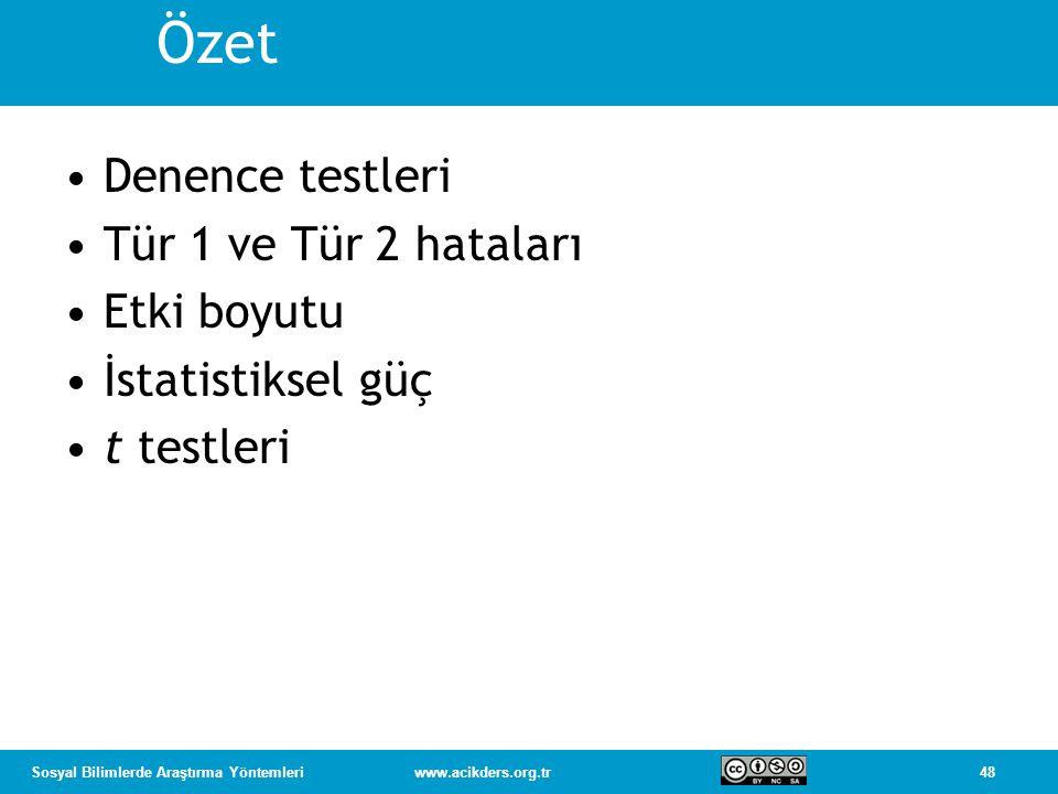 48Sosyal Bilimlerde Araştırma Yöntemleriwww.acikders.org.tr Özet Denence testleri Tür 1 ve Tür 2 hataları Etki boyutu İstatistiksel güç t testleri