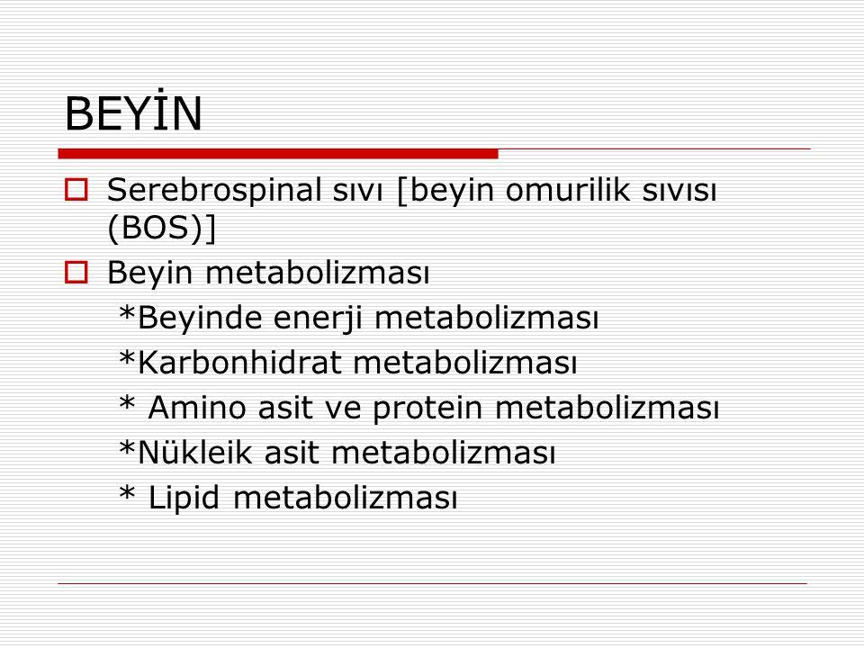 BEYİN  Serebrospinal sıvı [beyin omurilik sıvısı (BOS)]  Beyin metabolizması *Beyinde enerji metabolizması *Karbonhidrat metabolizması * Amino asit