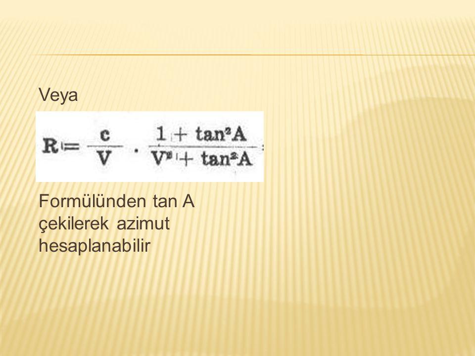 Veya Formülünden tan A çekilerek azimut hesaplanabilir
