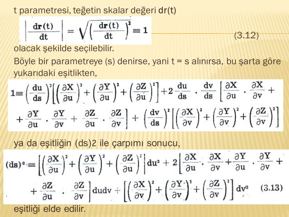 t parametresi, teğetin skalar değeri dr(t) (3.12) olacak şekilde seçilebilir.