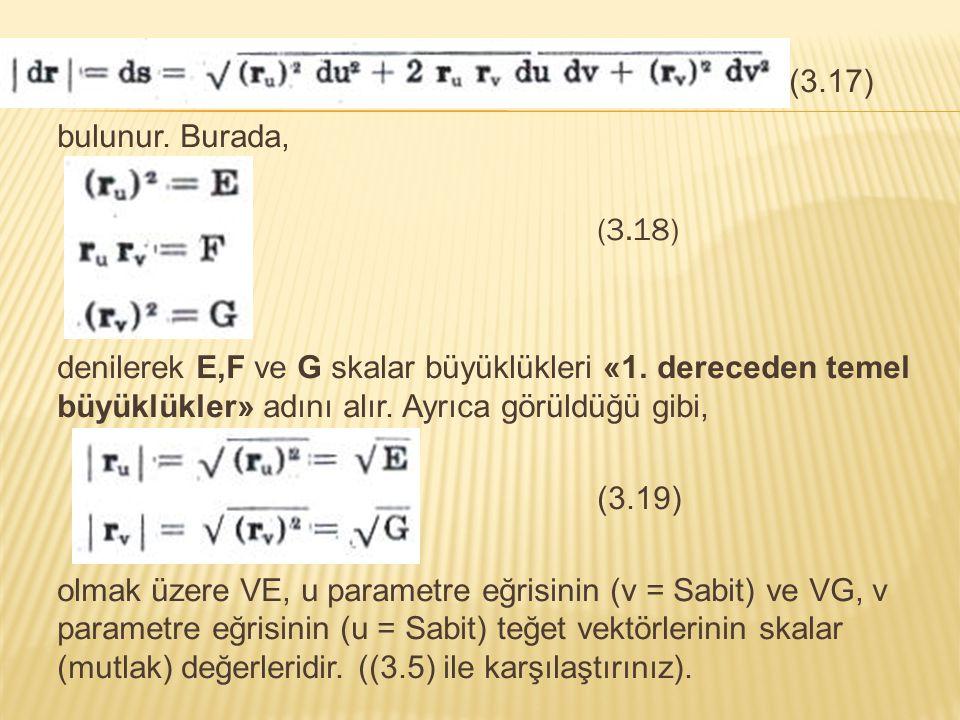 (3.17) bulunur. Burada, (3.18) denilerek E,F ve G skalar büyüklükleri «1. dereceden temel büyüklükler» adını alır. Ayrıca görüldüğü gibi, (3.19) olmak