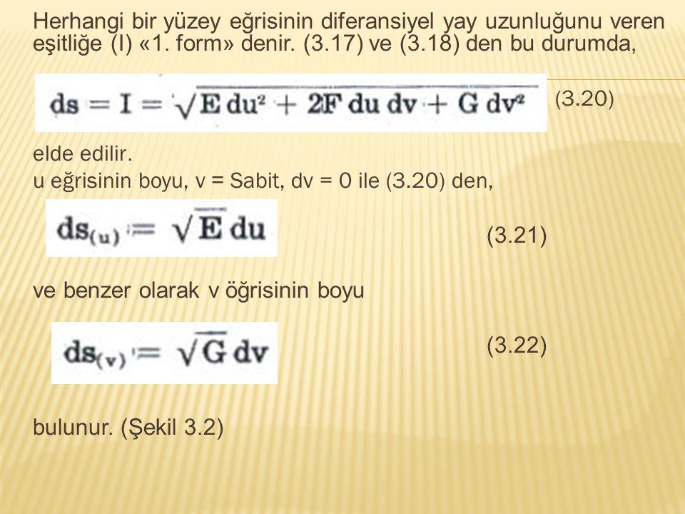 Herhangi bir yüzey eğrisinin diferansiyel yay uzunluğunu veren eşitliğe (I) «1. form» denir. (3.17) ve (3.18) den bu durumda, (3.20) elde edilir. u eğ