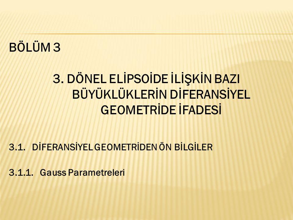 BÖLÜM 3 3. DÖNEL ELİPSOİDE İLİŞKİN BAZI BÜYÜKLÜKLERİN DİFERANSİYEL GEOMETRİDE İFADESİ 3.1. DİFERANSİYEL GEOMETRİDEN ÖN BİLGİLER 3.1.1. Gauss Parametre