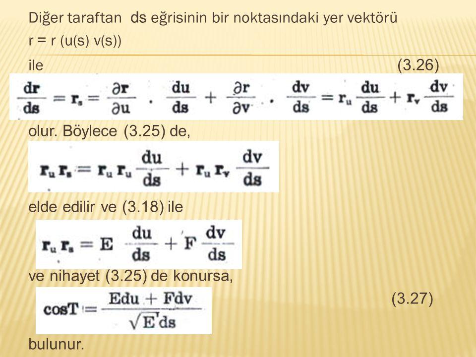 Diğer taraftan ds eğrisinin bir noktasındaki yer vektörü r = r (u(s) v(s)) ile (3.26) olur. Böylece (3.25) de, elde edilir ve (3.18) ile ve nihayet (3