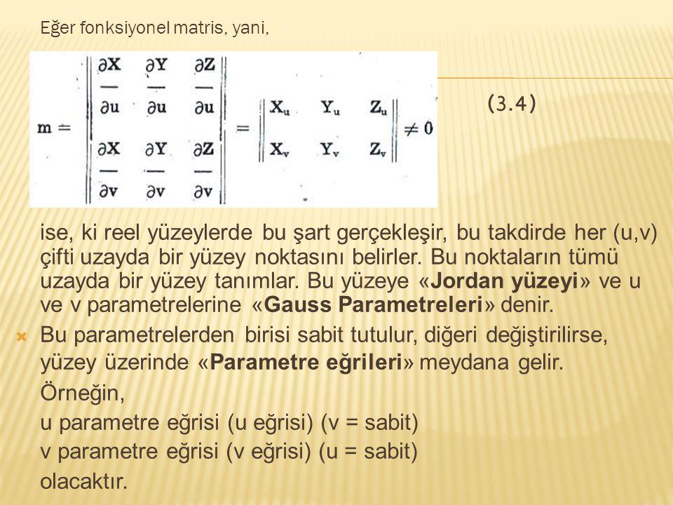 Herhangi bir yüzey eğrisinin diferansiyel yay uzunluğunu veren eşitliğe (I) «1.