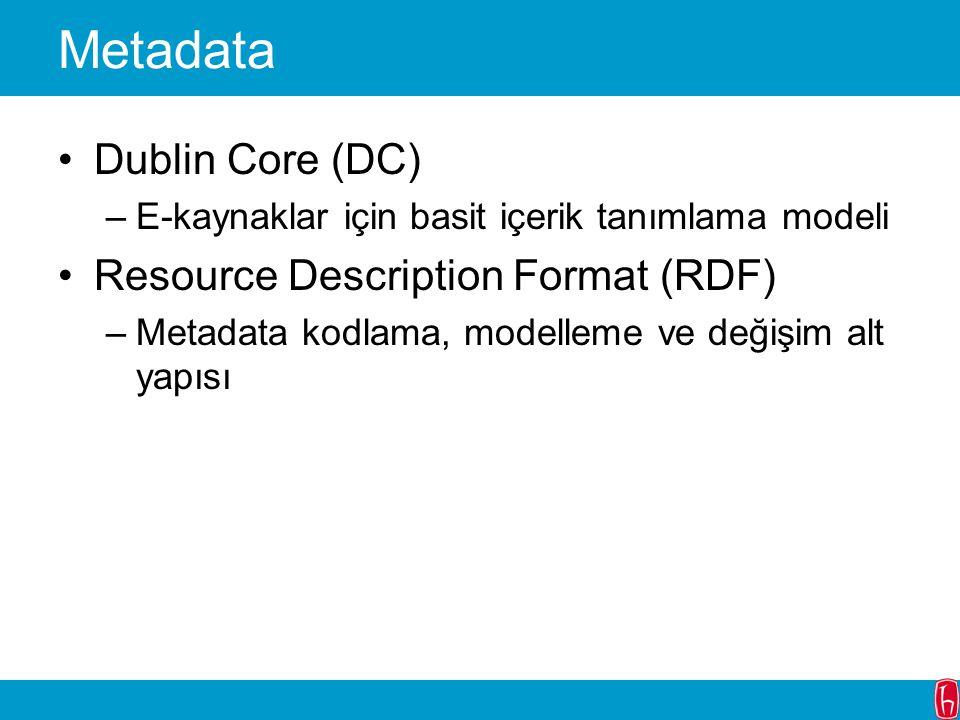 Metadata Dublin Core (DC) –E-kaynaklar için basit içerik tanımlama modeli Resource Description Format (RDF) –Metadata kodlama, modelleme ve değişim al