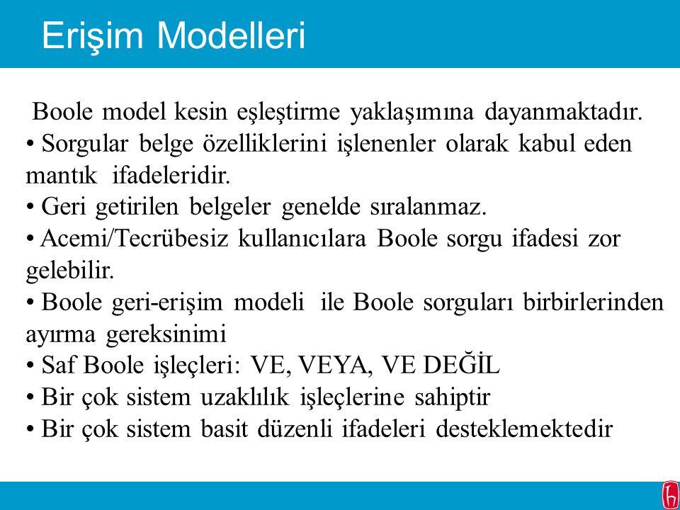 Erişim Modelleri Boole model kesin eşleştirme yaklaşımına dayanmaktadır. Sorgular belge özelliklerini işlenenler olarak kabul eden mantık ifadeleridir