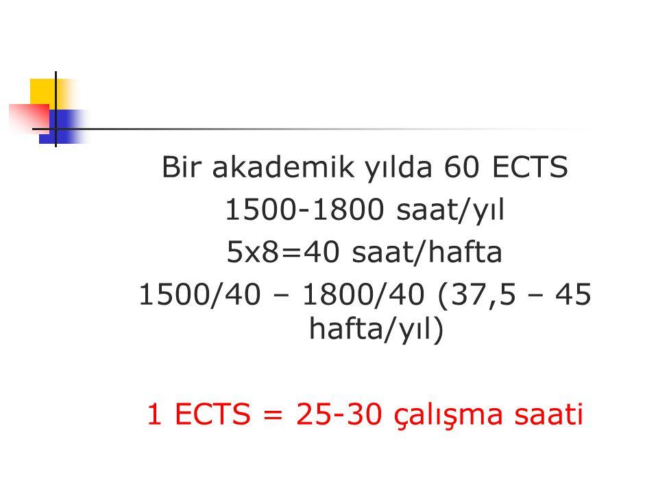 Bir akademik yılda 60 ECTS 1500-1800 saat/yıl 5x8=40 saat/hafta 1500/40 – 1800/40 (37,5 – 45 hafta/yıl)  1 ECTS = 25-30 çalışma saati