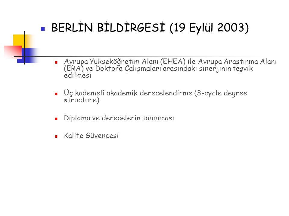 BERLİN BİLDİRGESİ (19 Eylül 2003)  Avrupa Yükseköğretim Alanı (EHEA) ile Avrupa Araştırma Alanı (ERA) ve Doktora Çalışmaları arasındaki sinerjinin teşvik edilmesi Üç kademeli akademik derecelendirme (3-cycle degree structure)  Diploma ve derecelerin tanınması Kalite Güvencesi