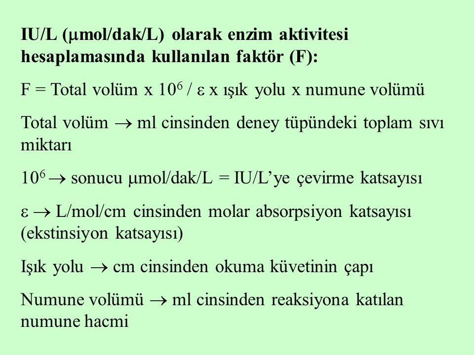 IU/L (  mol/dak/L) olarak enzim aktivitesi hesaplamasında kullanılan faktör (F): F = Total volüm x 10 6 /  x ışık yolu x numune volümü Total volüm 