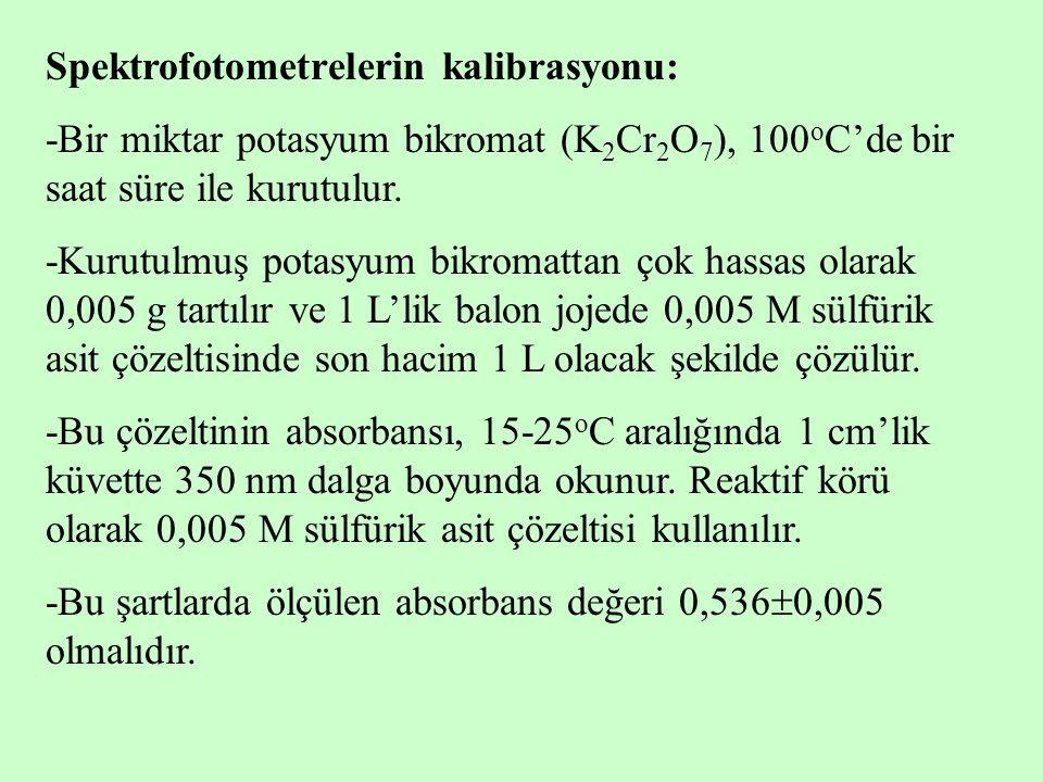 Spektrofotometrelerin kalibrasyonu: -Bir miktar potasyum bikromat (K 2 Cr 2 O 7 ), 100 o C'de bir saat süre ile kurutulur. -Kurutulmuş potasyum bikrom