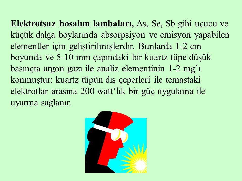 Elektrotsuz boşalım lambaları, As, Se, Sb gibi uçucu ve küçük dalga boylarında absorpsiyon ve emisyon yapabilen elementler için geliştirilmişlerdir. B