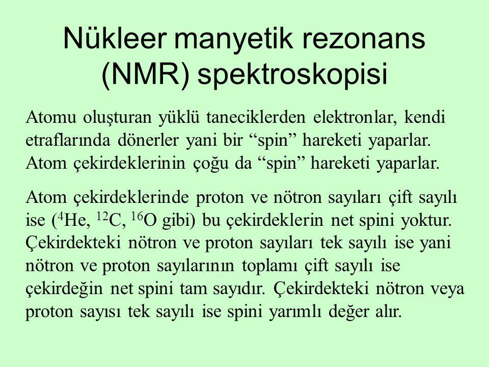 Nükleer manyetik rezonans (NMR) spektroskopisi Atomu oluşturan yüklü taneciklerden elektronlar, kendi etraflarında dönerler yani bir spin hareketi yaparlar.