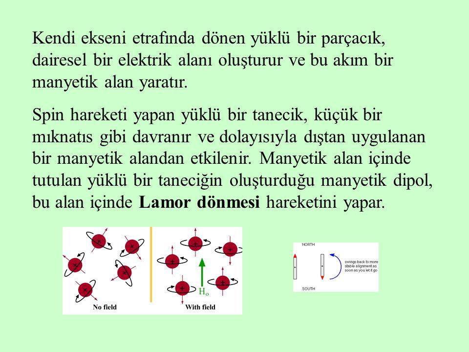 Kendi ekseni etrafında dönen yüklü bir parçacık, dairesel bir elektrik alanı oluşturur ve bu akım bir manyetik alan yaratır.