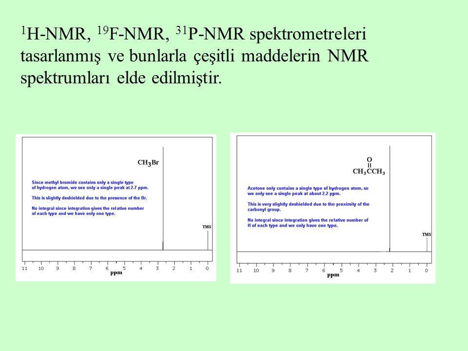 1 H-NMR, 19 F-NMR, 31 P-NMR spektrometreleri tasarlanmış ve bunlarla çeşitli maddelerin NMR spektrumları elde edilmiştir.