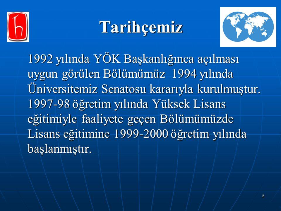 2 Tarihçemiz 1992 yılında YÖK Başkanlığınca açılması uygun görülen Bölümümüz 1994 yılında Üniversitemiz Senatosu kararıyla kurulmuştur. 1997-98 öğreti