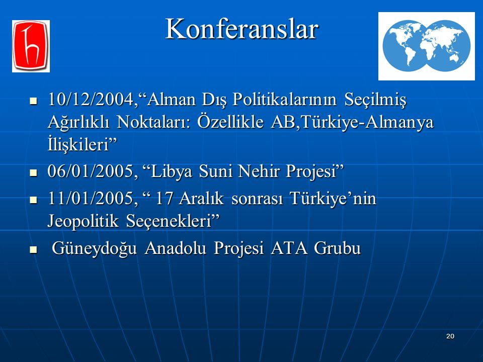 """20 Konferanslar 10/12/2004,""""Alman Dış Politikalarının Seçilmiş Ağırlıklı Noktaları: Özellikle AB,Türkiye-Almanya İlişkileri"""" 10/12/2004,""""Alman Dış Pol"""